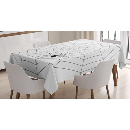 Spider Web Tablecloth, Toxic Poisonous Insect Thread Crawly Malicious Bug Halloween Character Design, Rectangular Table Cover for Dining Room Kitchen, 60 X 84 Inches, Black White, by - Designs For Halloween