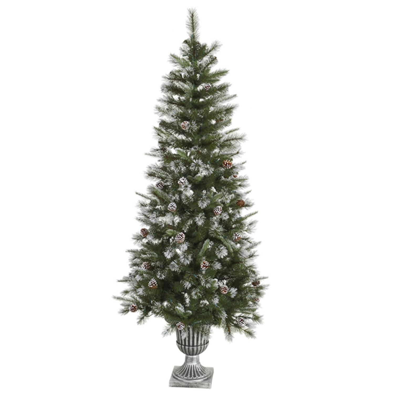 Artificial Christmas Tree With Pine Cones: 6.5' Frosted Country Pine Cone Potted Artificial Christmas