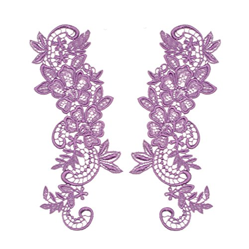"2.75""x8"" Floral Venice Lace Applique Embroidered Bridal Guipure Patch Motif (2 Pieces)"