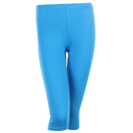 cdfcc02c2c4c18 Ola Mari - PLUS SIZE Solid Cotton Capri Leggings Plain Pants Capris For  Women, Turquoise, 1XL - Walmart.com
