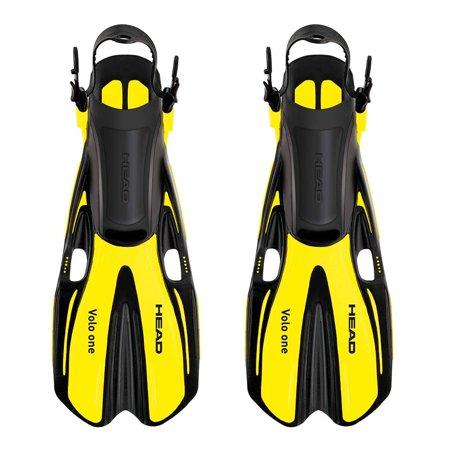 Head Volo One Yellow Swimming Snorkeling Diving Scuba Fins w/ Mesh Bag Set, -