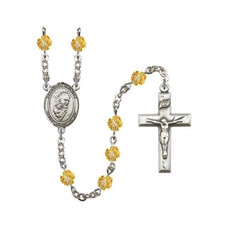- Blessed Trinity Silver-Plated Rosary 6mm November Yellow Fire Polished Beads Crucifix Size 1 3/8 x 3/4 medal charm