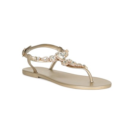 Women Jewel Embellished T-Strap Jelly Flat Sandal 18875 ()