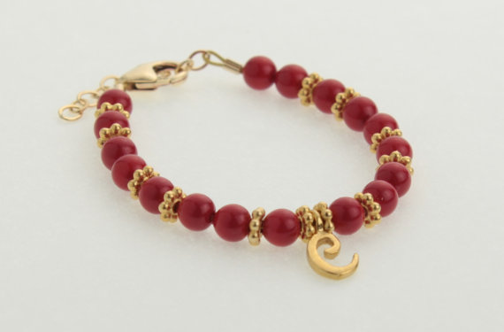 Red Coral Pearls with 14kt Gold Filled Script Initial Bracelet by
