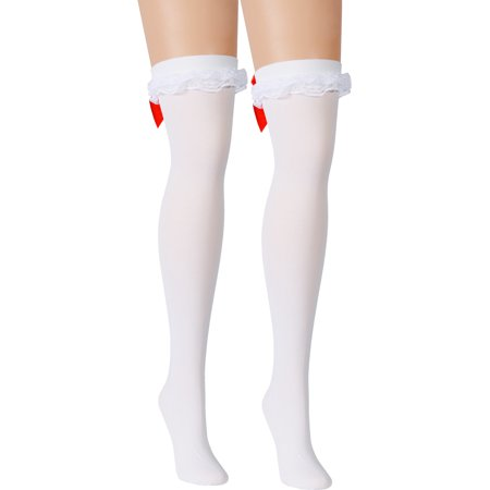 White Opaque Thigh Hi Stockings Red Hearts Back Seam Ruffles Satin Red Bows Bow Back Seam Stockings