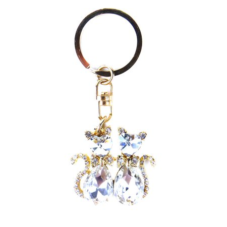 Gold and Crystal Gemstone Two Cat Stylish Keychain / Keyring