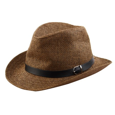 Men Summer Outdoor Straw Braided Western Style Sunhat Cowboy Hat Coffee Color