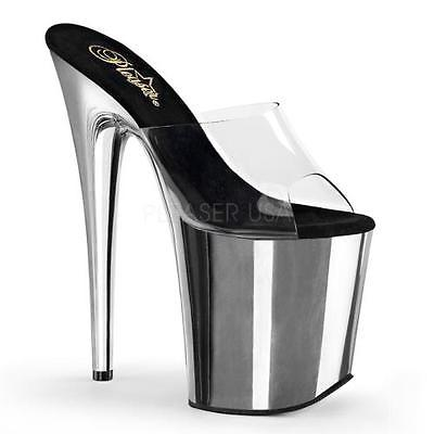 "FLAMINGO-801 Pleaser Platforms Exotic Dancing 8"" Heel Clr/Slv Chrome Size: 6"