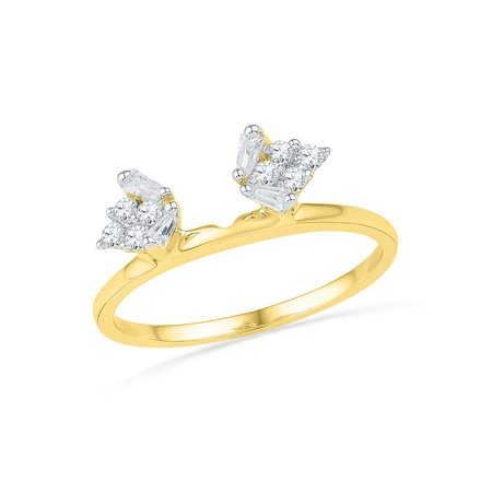 Gift Wrapped Heart Chastity Ring - 14kt Yellow Gold Womens Baguette Diamond Ring Guard Wrap Solitaire Enhancer 1/4 Cttw Diamond Fine Jewelry Ideal Gifts For Women Gift Set From Heart