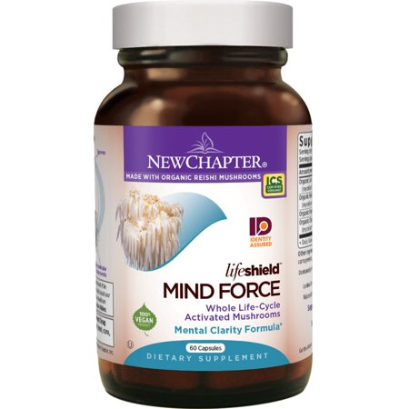 Lion's Mane + Reishi Mushroom - LifeShield Mind Force for Mental Clarity with Organic Reishi Mushroom + Vegan + Non-GMO Ingredients - 60 ct New Chapter - 60 Vegetarian Capsules - Mind Force: Mental Cl