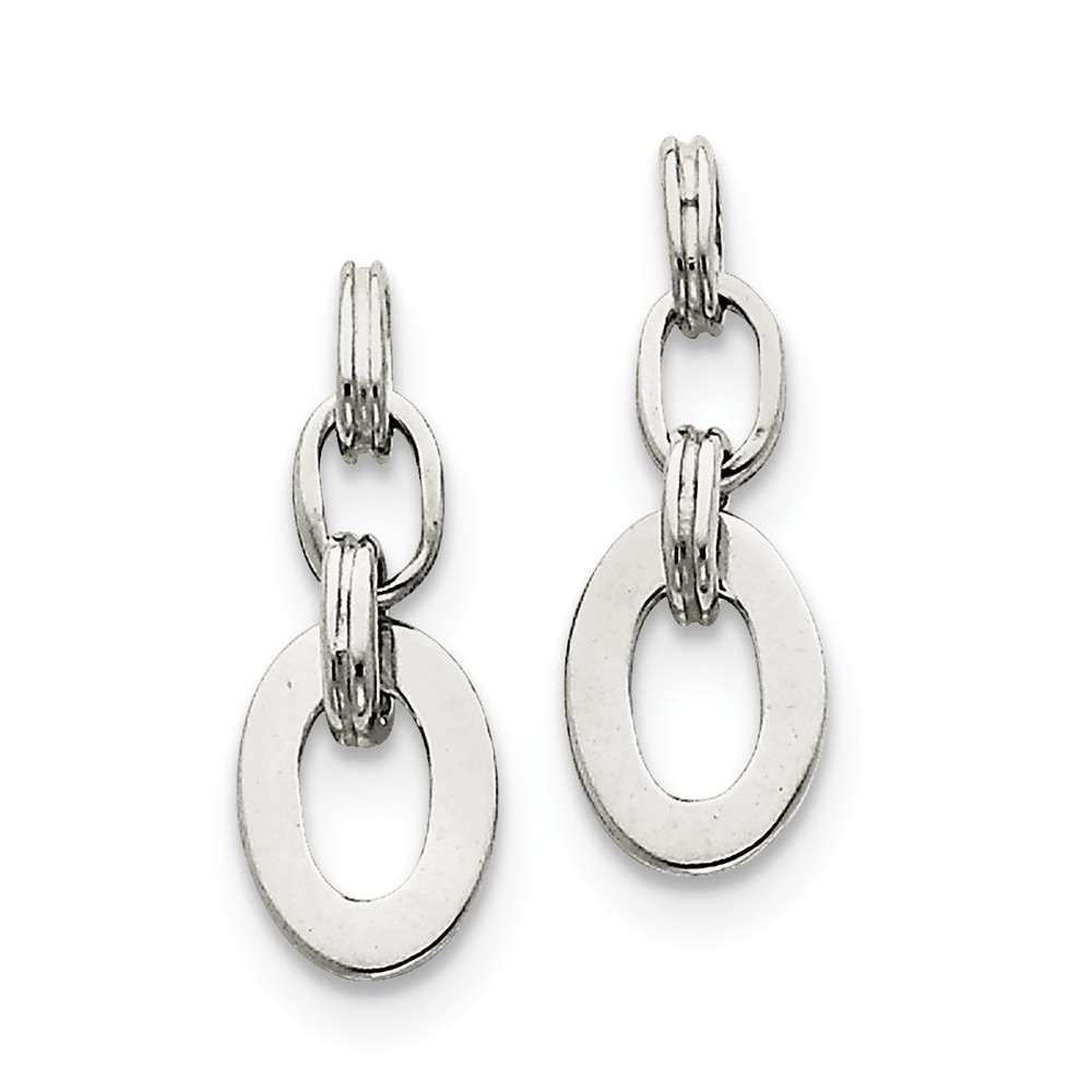 Sterling Silver Oval Dangle Earrings (0.9IN x 0.3IN )