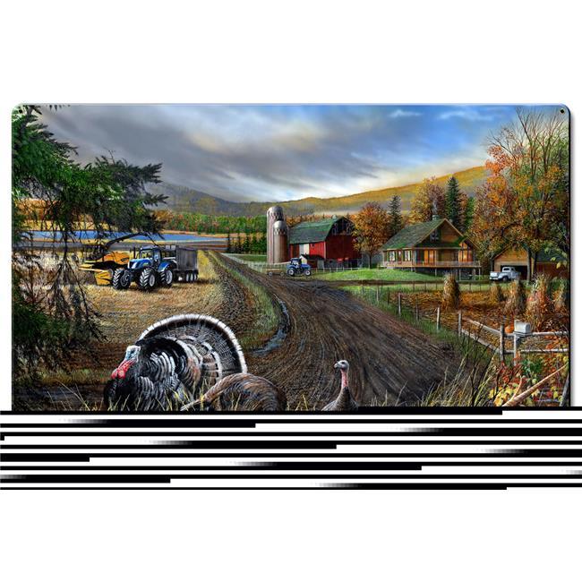 Kevin Daniel Art KDA123 16 x 24 in. Deer & Blue Tractors Satin Metal Sign - image 1 of 1