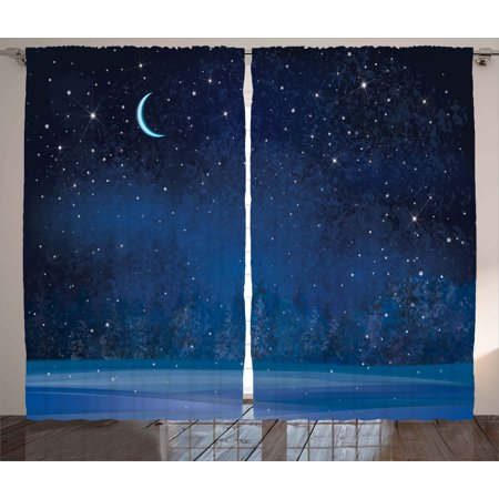 Moon Decor Curtains 2 Panels Set, Mystic Winter Wonderland with Starry Sky Dark Night Magical Forest Landscape, Window Drapes for Living Room Bedroom, 108W X 84L Inches, Dark Blue, by Ambesonne (Winter Wonderland Decor)
