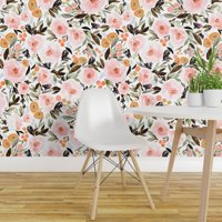 Peel-and-Stick Removable Wallpaper Floral Boho Berries Leaves Pink Gold Indy