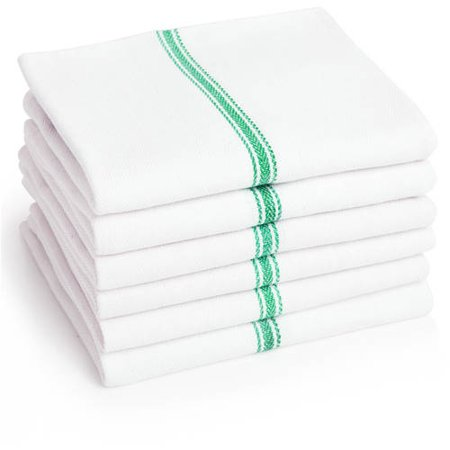 Premia Commercial Kitchen Towels, 6 Pack, White Dish Towels with Center Stripe, Green