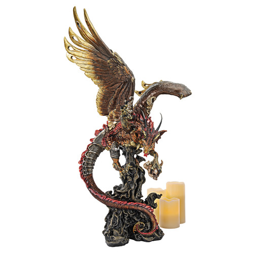 Design Toscano Lash and Scourge of the Dark Large Scale Gothic Dragon Statue by Design Toscano