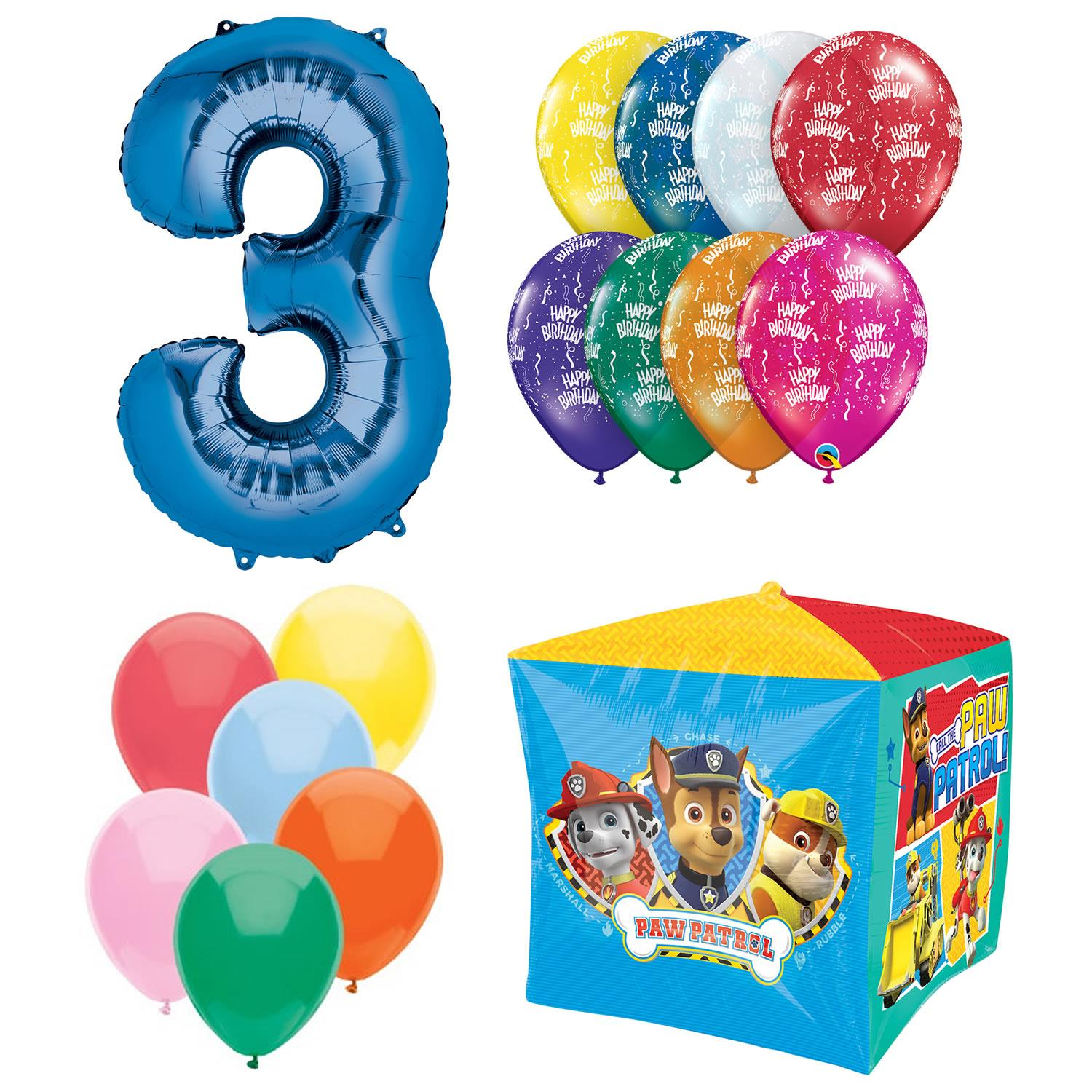 Paw Patrol Cubes Airwalker 3rd Birthday Ballon Bouquet Set Kids Party Decoration Anagram