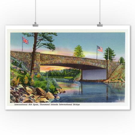 International Bridge (Thousand Islands, New York - International Rift Span of International Bridge (9x12 Art Print, Wall Decor Travel Poster))