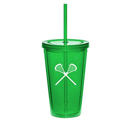 (16oz Double Wall Acrylic Tumbler Cup With Straw Lacrosse Sticks (Green))