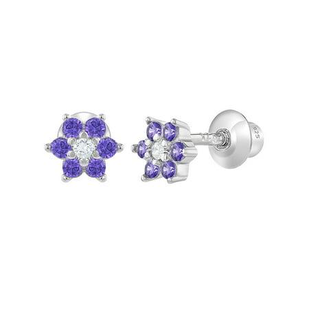 925 Sterling Silver CZ Flower Infant Toddler Baby Earrings Screw Back