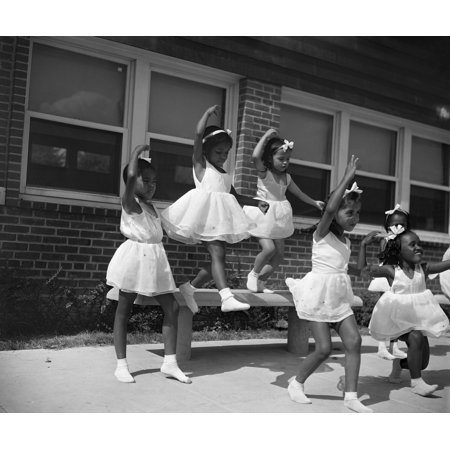 Washington Dc 1942 Na Group Of Young Dancers At The Frederick Douglass Housing Project In The Anacostia Neighborhood Of Washington Dc Photograph By Gordon Parks July 1942 Rolled Canvas Art     24 X 36