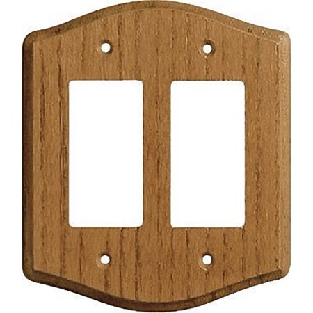Creative Accents Wood Wall Plate - Creative Accents 703 Decorative Medium Finish Oak Wood 2 Gang Decorator Wallplate