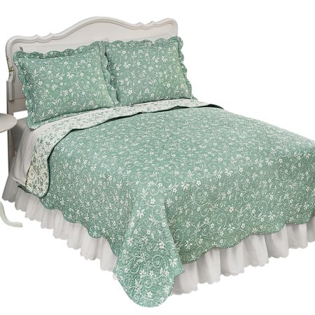 Floral Scallop - Floral Scroll Two-Tone with Scalloped Edges Reversible Lightweight Quilt, King, Sage