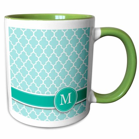 3dRose Personalized letter M aqua blue quatrefoil pattern Teal turquoise mint monogrammed personal initial - Two Tone Green Mug, 15-ounce