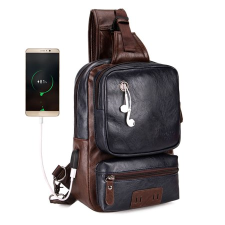 - Vintage Large Capacity PU Leather Sling Bag External USB Charging Interface Adapter Charging Cable Chest Bag Crossbody Bag