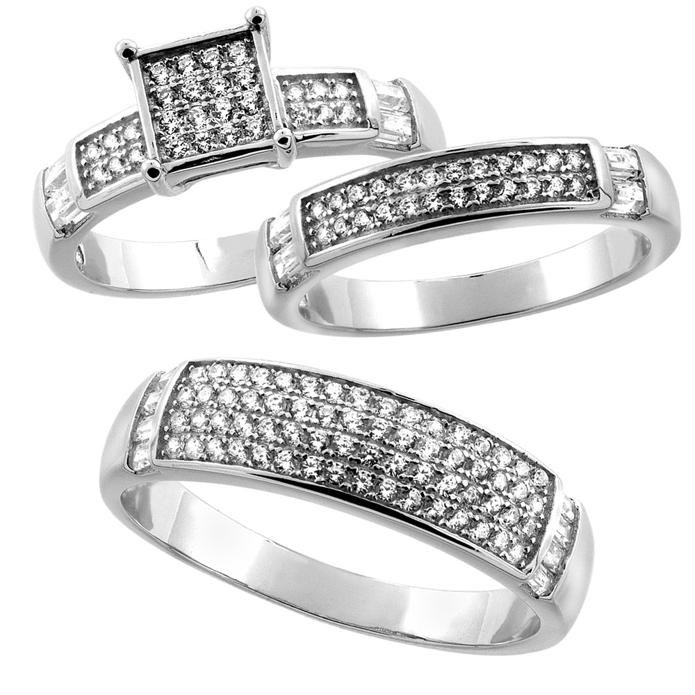 Sterling Silver Micro Pave Cubic Zirconia Trio Wedding Ring Set for 6 mm Him & Hers 4 mm, L 5 - 10 & M 8 - 14