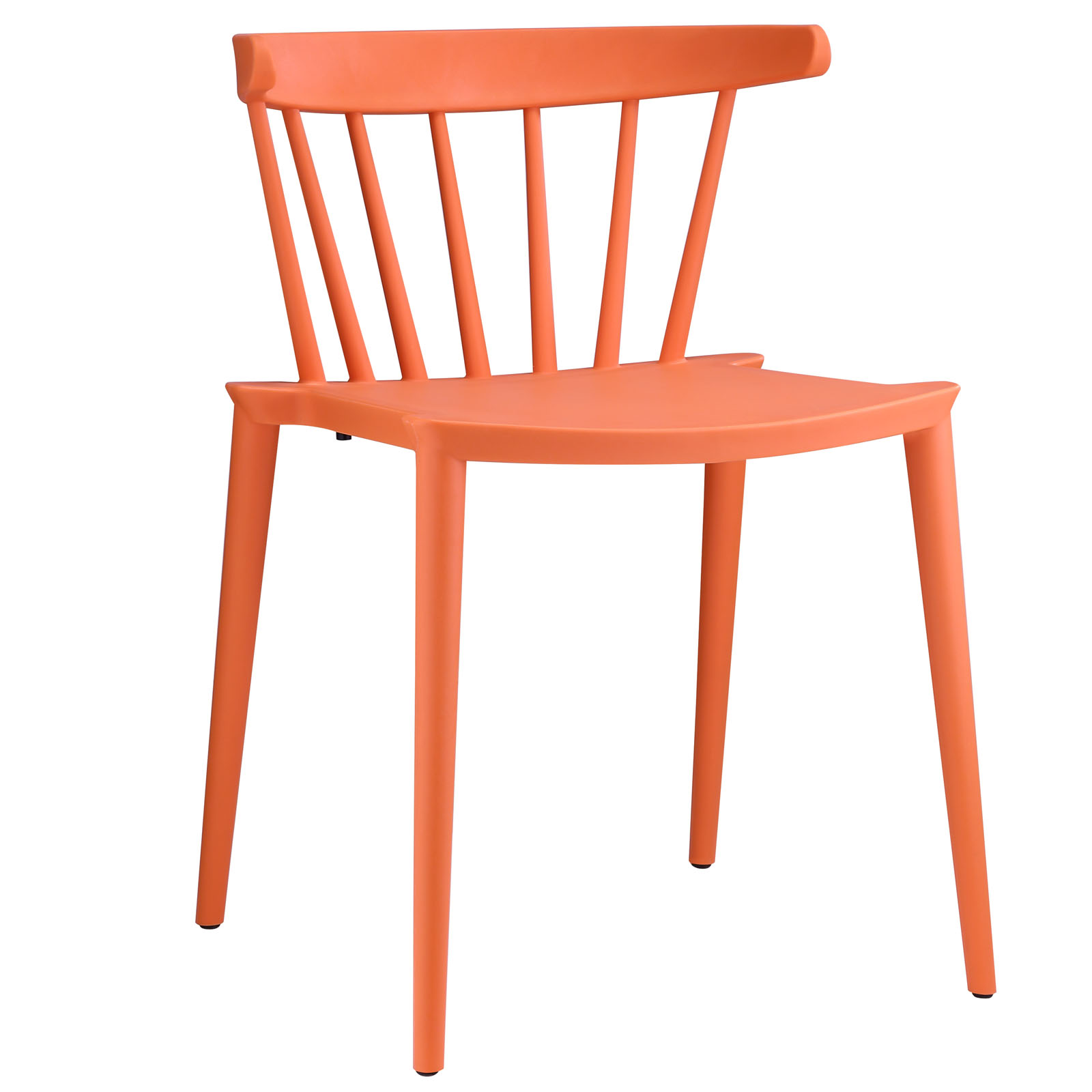 Modern Contemporary Dining Side Chair, Orange Plastic