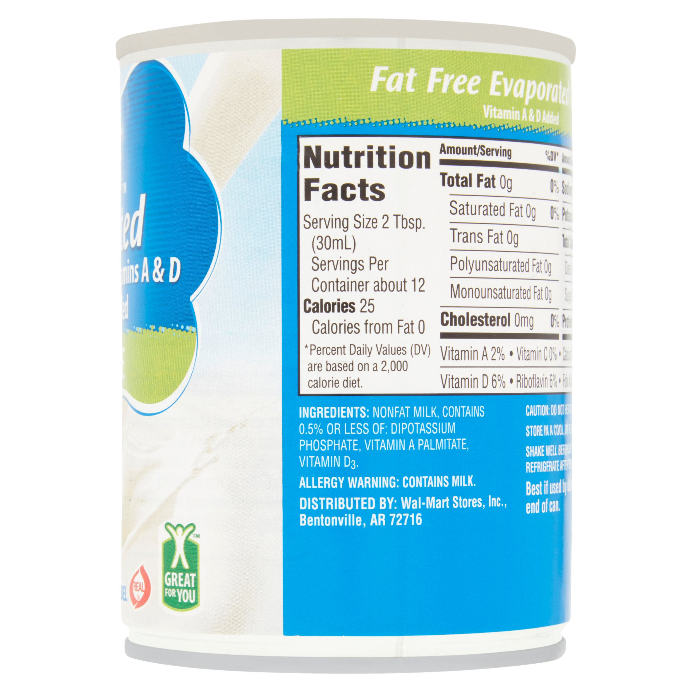 Great Value Evaporated Fat Free Milk, 12 oz - Walmart.com
