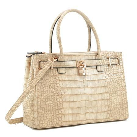 M MARCO Women Faux Croco Embossed Leather Padlock Handbag Croco Leather Handbags
