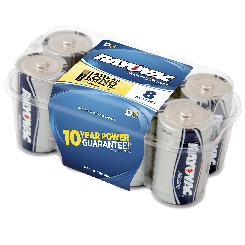 Rayovac Alkaline Value Pack D Batteries, 8-pack