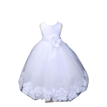 Ekidsbridal Satin White Tulle Petal Christmas Junior Bridesmaid Recital Easter Holiday Wedding Pageant Communion Princess Birthday Girl Clothing Baptism 302S size 2 Flower Girl Dress
