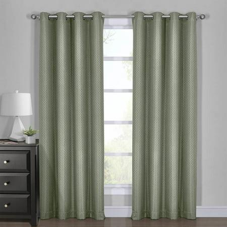 """100% Blackout Curtain - Diamond Jacquard Woven Drape Theme (Set of 2): 54 x 108"""" Pair, Aqua"""