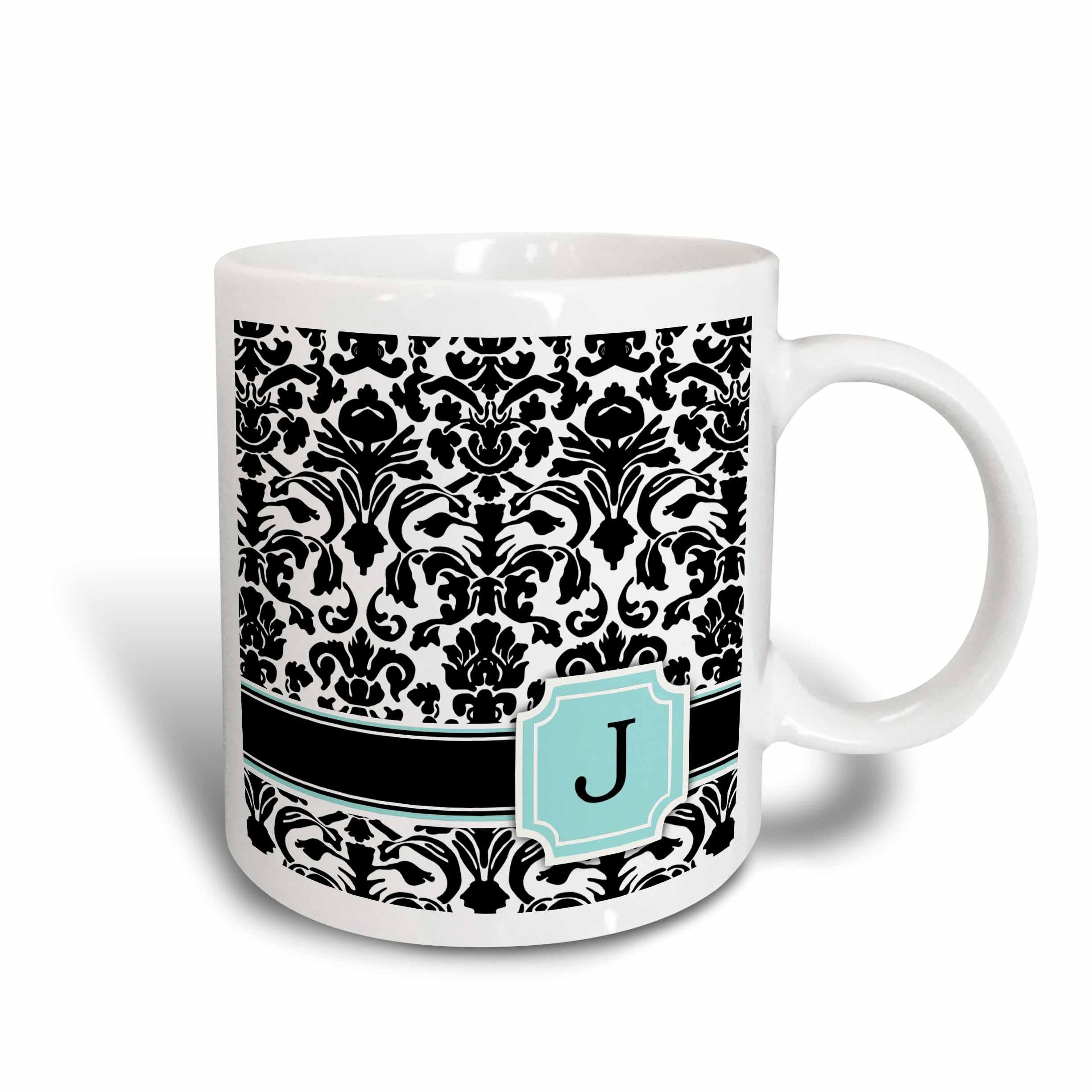 3dRose Letter J personal monogrammed mint blue black and white damask pattern - classy personalized initial, Ceramic Mug, 15-ounce