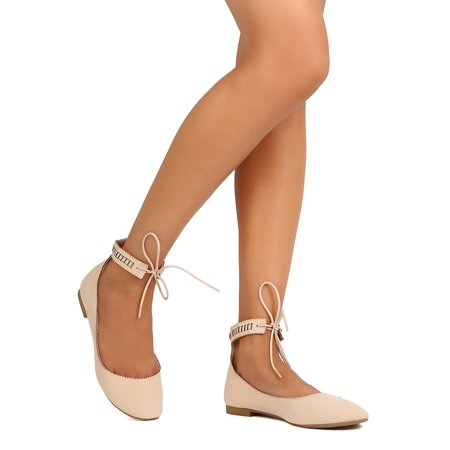 New Women Qupid Oaklyn-01 Nubuck Round Toe Perforated Ankle Tie Ballet
