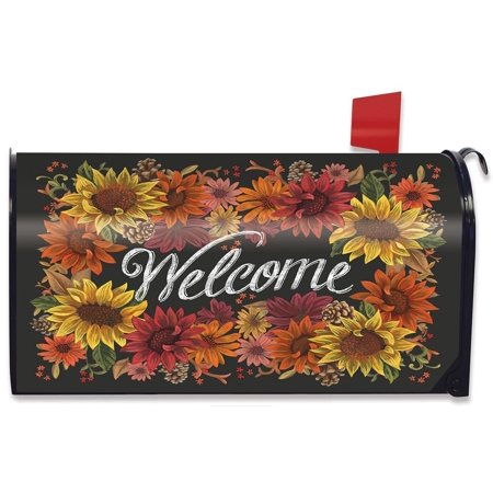Fall Flowers Welcome Magnetic Mailbox Cover Autumn Sunflowers Briarwood Lane