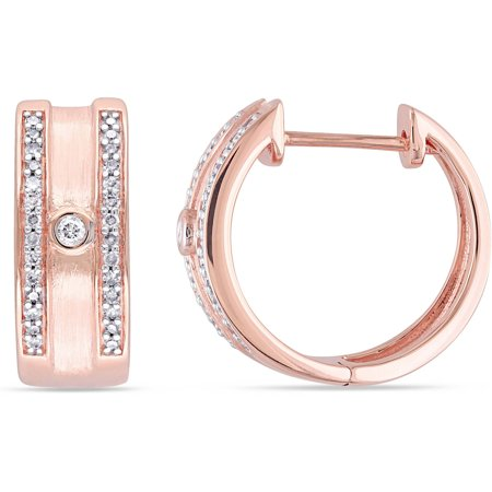 Miabella 1/5 Carat T.W. Diamond 10kt Rose Gold Clip-Back Hoop Earrings