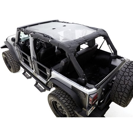 RAMPAGE PRODUCTS 94501R Combo Brief Extended Topper with Zip Out Rear Section for 2007-2018 Jeep Wrangler Unlimited 4-Door, Black Mesh