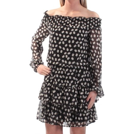 CYNTHIA ROWLEY Womens Black Geometric Long Sleeve Off Shoulder Above The Knee Drop Waist Dress  Size: