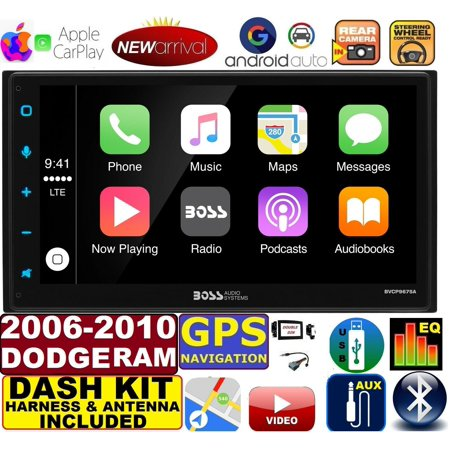 06-10 DODGE RAM GPS APPLE CARPLAY NAVIGATION (works with IPHONE) AM/FM  USB/BLUETOOTH CAR RADIO STEREO PKG  INCL  VEHICLE HARDWARE: DASH KIT, WIRE