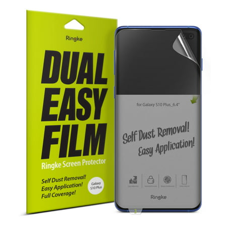 """Galaxy S10 Plus Screen Protector, Ringke Ringke Dual Easy Film [2 Pack] High Resolution [Anti-Smudge Coating] Easy Application Case Friendly Screen Protector for Galaxy S10+ 6.4"""""""