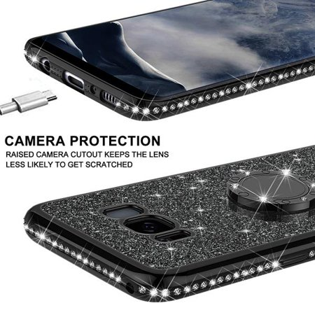 Galaxy S8 Plus Case, Cute Glitter Ring Stand Phone Case with Kickstand, Bling Diamond Bumper Ring Stand Sparkly Luxury Clear Thin Soft Protective Samsung Galaxy S8 Plus Cover for Girls Women - Black - image 5 of 6