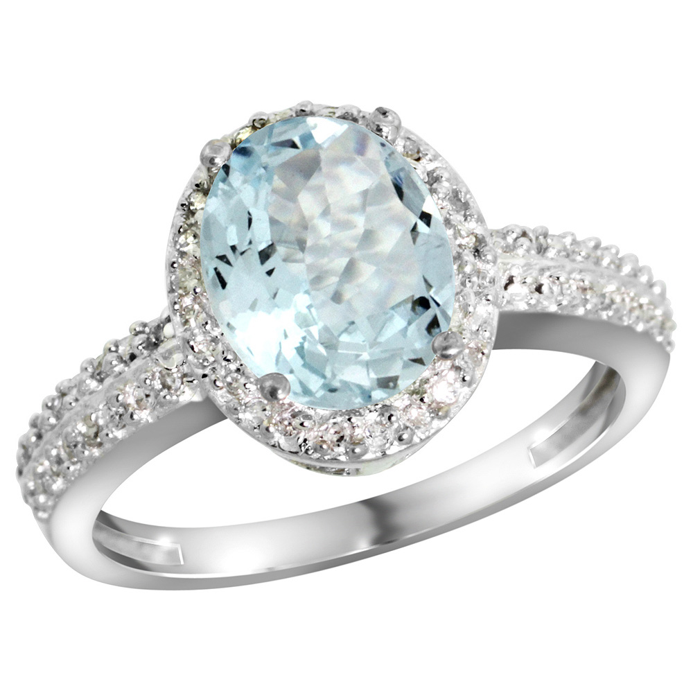 Sterling Silver Diamond Natural Aquamarine Ring Oval 9x7mm, 1 2 inch wide, sizes 5-10 by WorldJewels