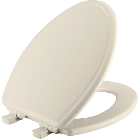 Mayfair Easy•Clean Elongated Enameled Wood Toilet Seat in Biscuit with STA-TITE