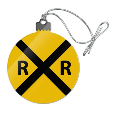 Railroad Crossing Traffic Sign Train Acrylic Christmas Tree Holiday Ornament - Railroad Crossing Costume