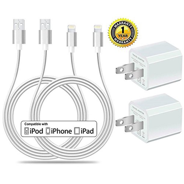 Certified 5W 1A USB Power Wall Charger with 2 Pack 10FT3M [Heavy Duty] Nylon Braided 8 Pin Lightning to USB Cable Charger (Silver) (4 Pack) (2 Pack