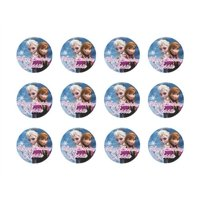 """Disney Frozen Anna & Elsa 2"""" Round Edible Cupcake Images Toppers"""
